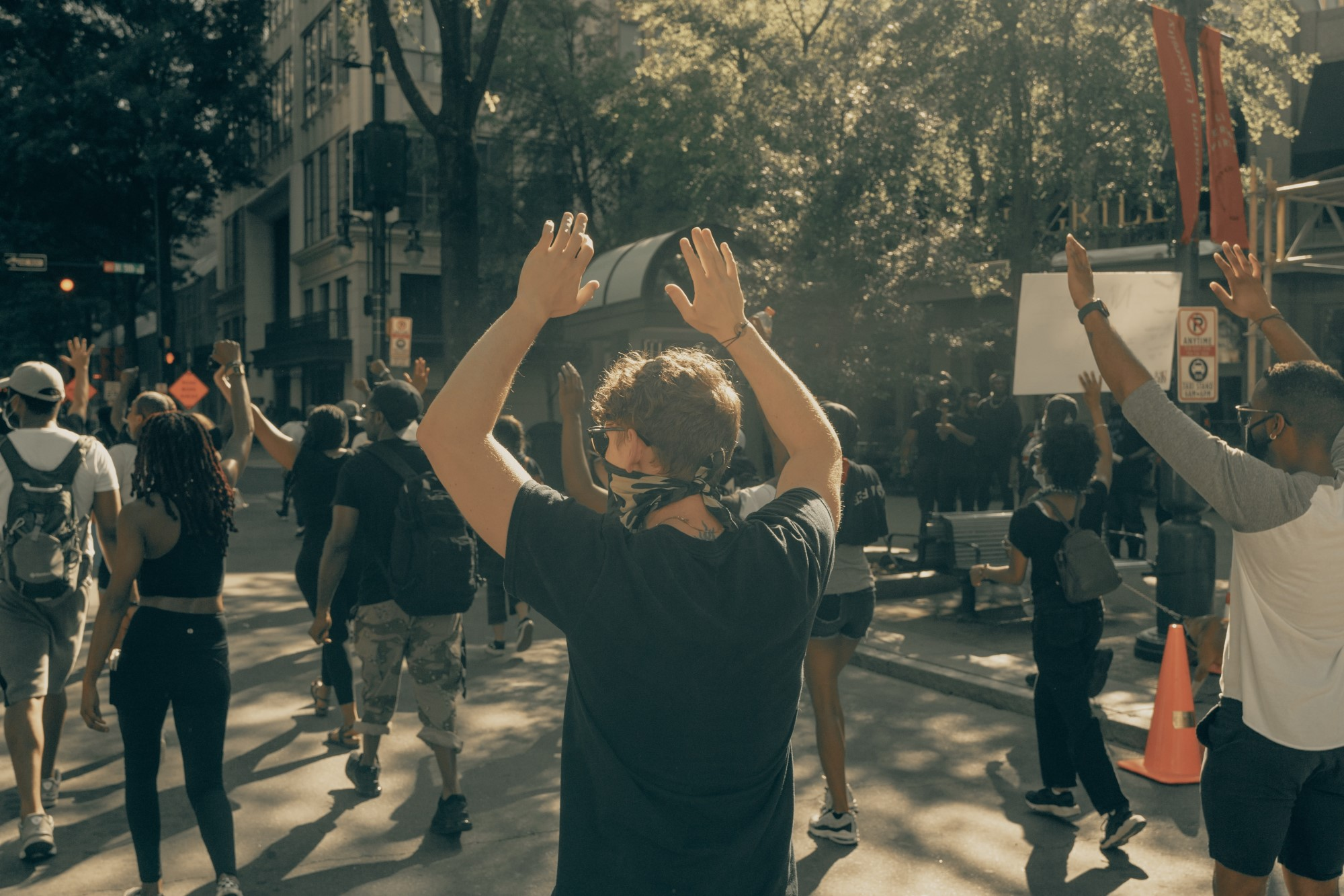 Peaceful Protest Hands Up